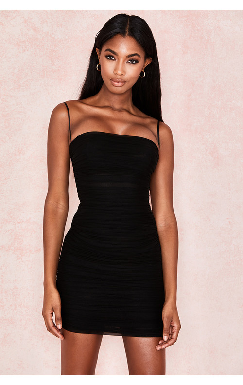 'Ella' Black Ruched Organza Mesh Mini Dress