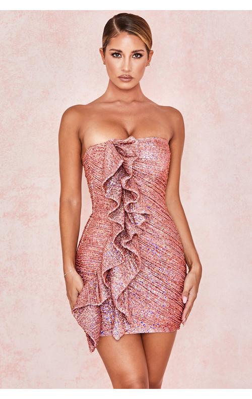 Grace Rose Gold Sequinned Strapless Dress