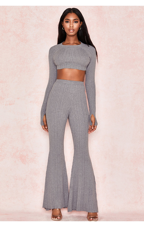 Gina Grey Ribbed Knit Trousers