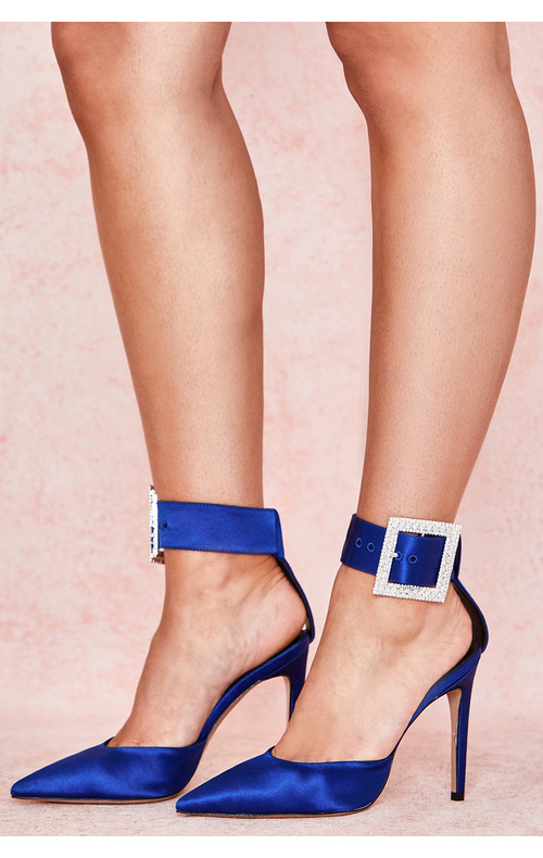 Krista Cobalt Blue Crystal Buckle Pumps