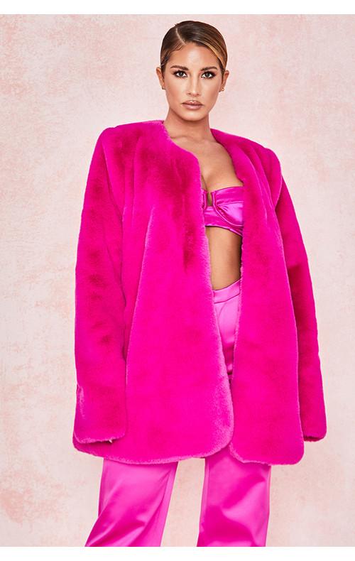 Roberta Pink Faux Fur Jacket