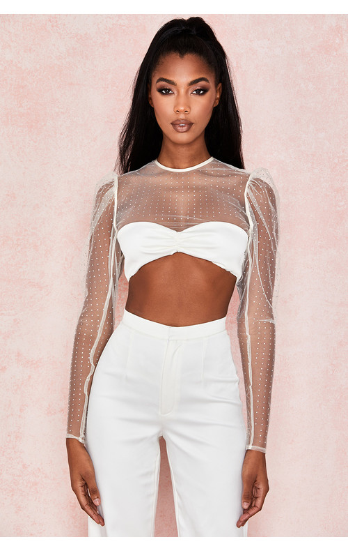 Serena Ivory Crystal Cropped Top