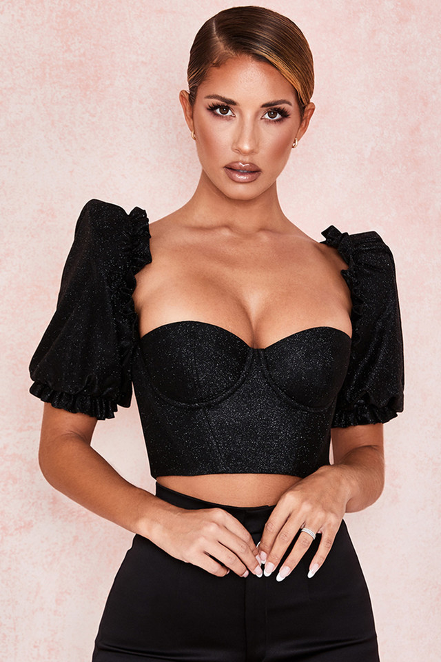 Amare Black Sparkle Puff Sleeve Corset
