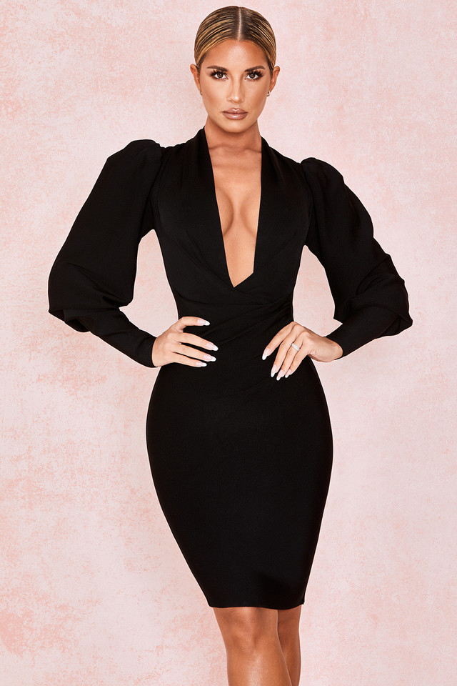 Annika Black Puff Sleeve Bandage Dress
