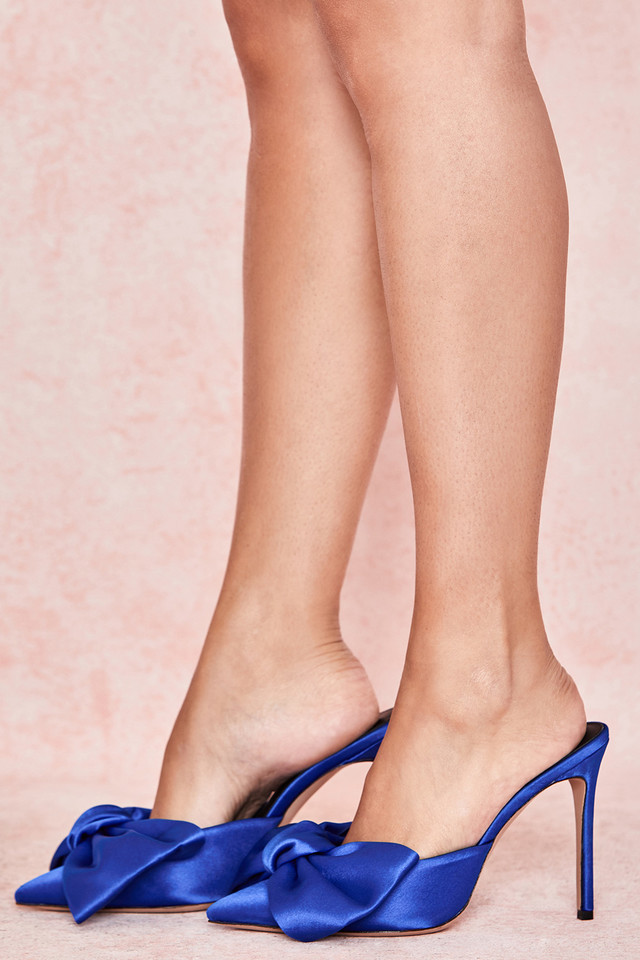 Beaubelle Cobalt Blue Oversized Bow Mules