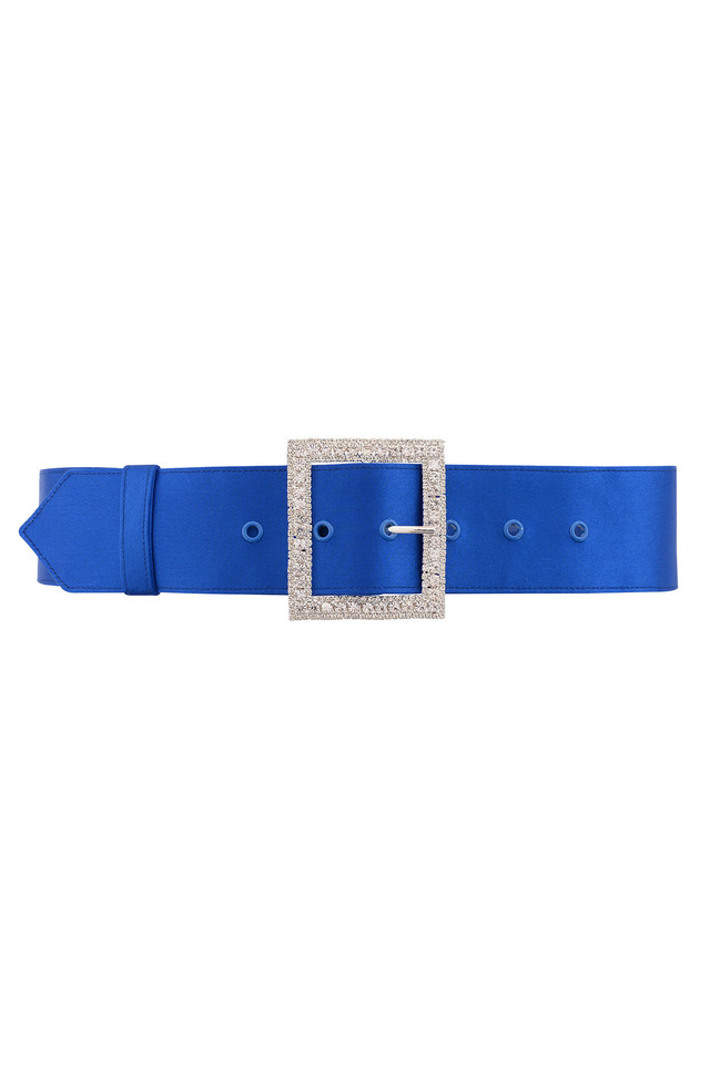 Charme Wide Cobalt Satin Crystal Belt