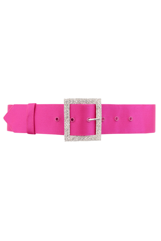 Charme Wide Pink Satin Crystal Belt