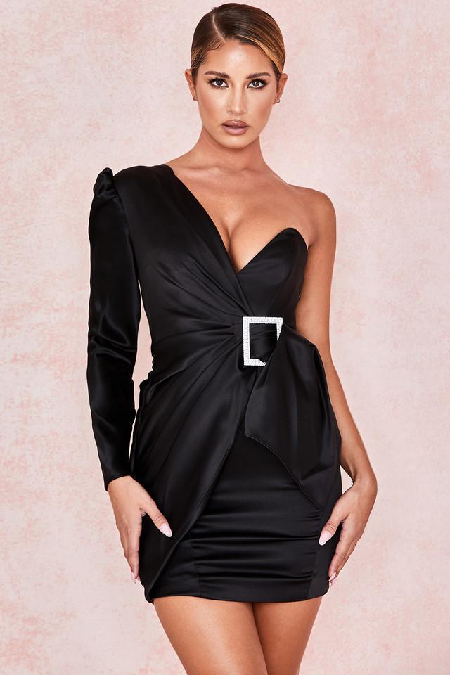 Chiara Black One Shoulder Draped Satin Dress