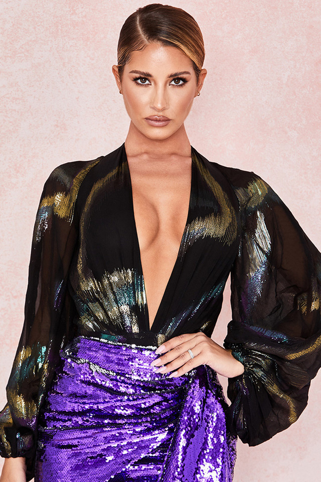 Cindy Silk Chiffon Metallic Lame Bodysuit