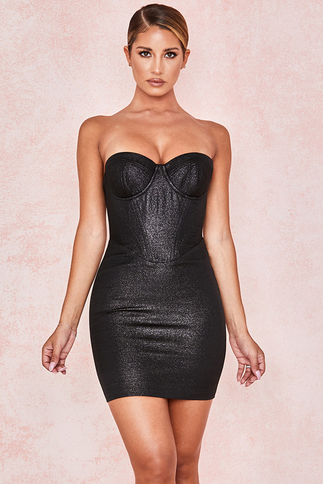 Eevi Black Sparkle Corset Dress