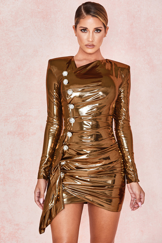 Gaby Gold Metallic Lame Drape Dress