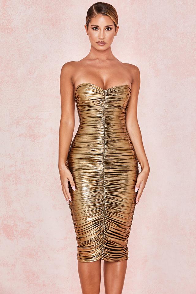 Gaia Metallic Gold Strapless Dress