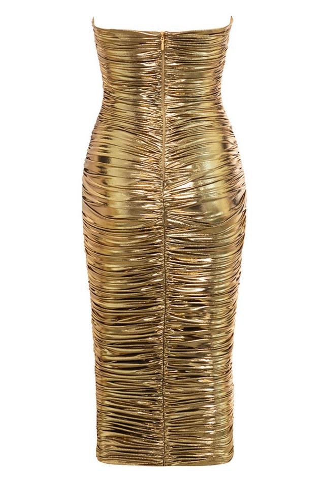 gaia dress in gold