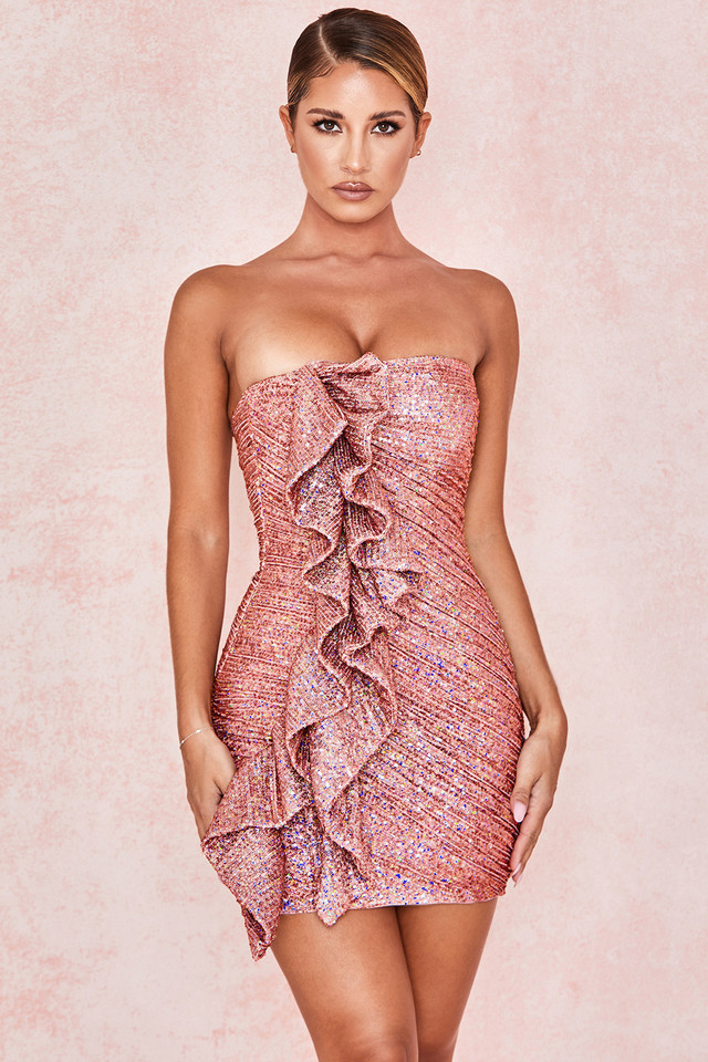 Grace Rose Gold Sequinned Strapless Dress