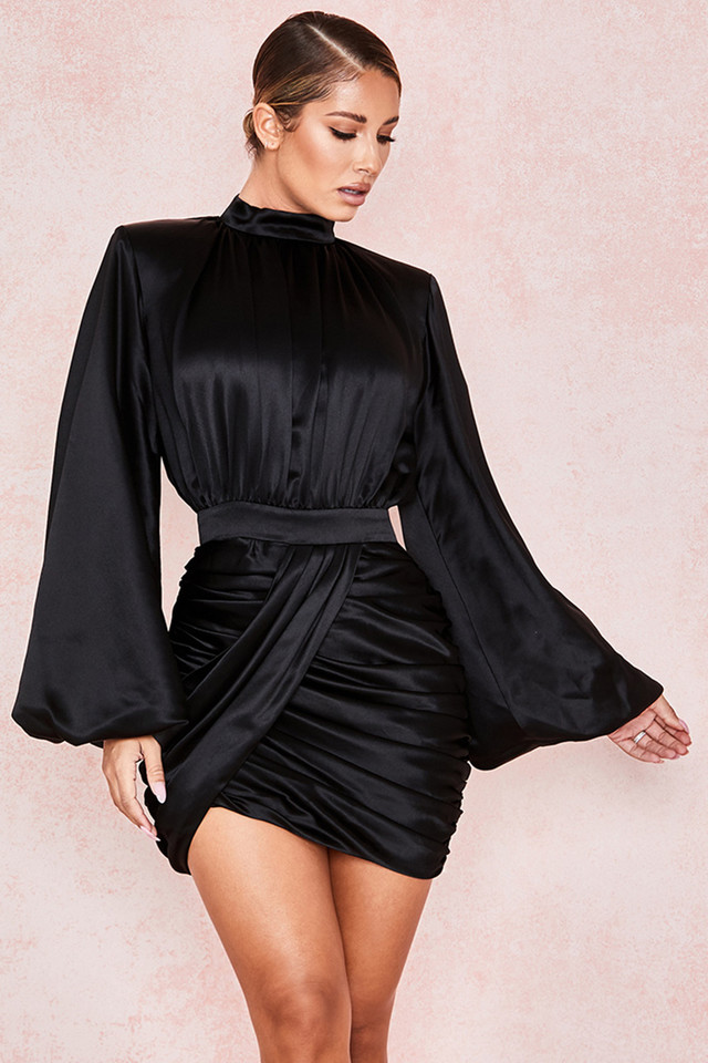 Khristen Black Satin Blouson Dress