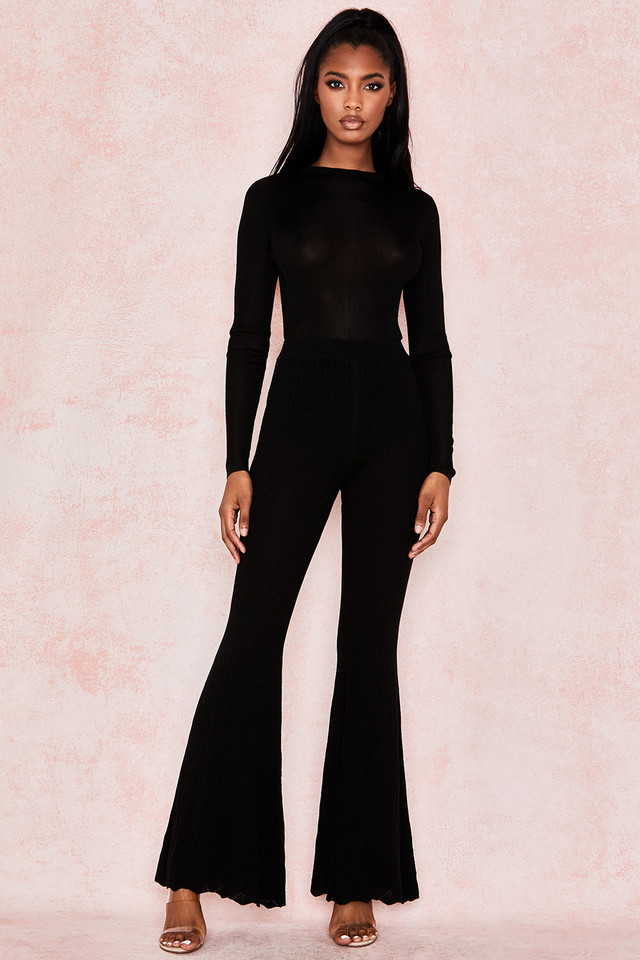 Marlena Black Ribbed Knit Trousers