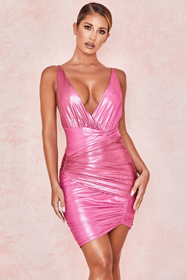 Martina Pink Metallic Draped Mini Dress