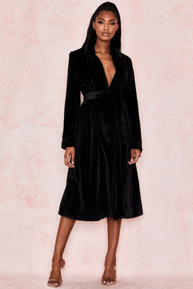 Mistral Black Faux Fur Wrap Coat