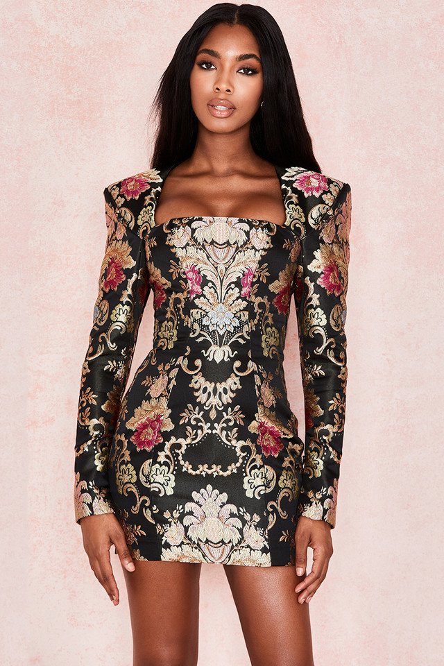 Mona Jacquard Boned Bustier Dress