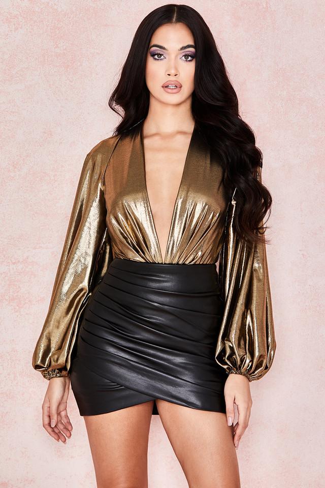 Sandrine Black Vegan Leather Mini Skirt