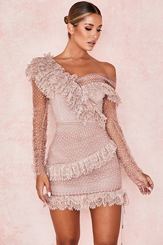 Sorrel Blush Lace Frill Mini Dress
