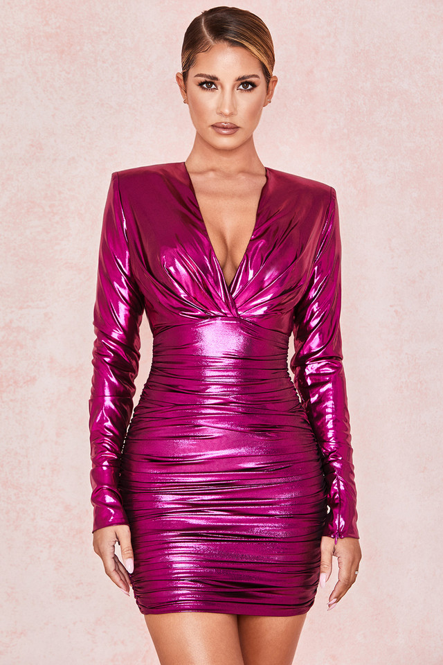 Zandra Metallic Pink Deep V Ruched Dress