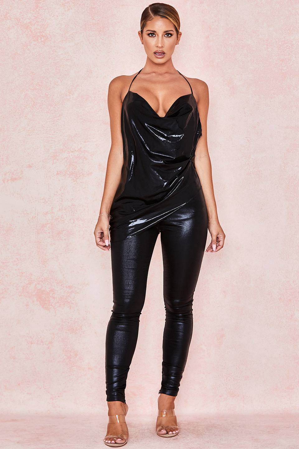 Bisou Black Wet Look Trousers
