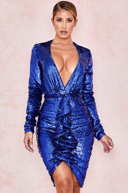 Cameo Cobalt Sequinned Plunge Front Bodysuit