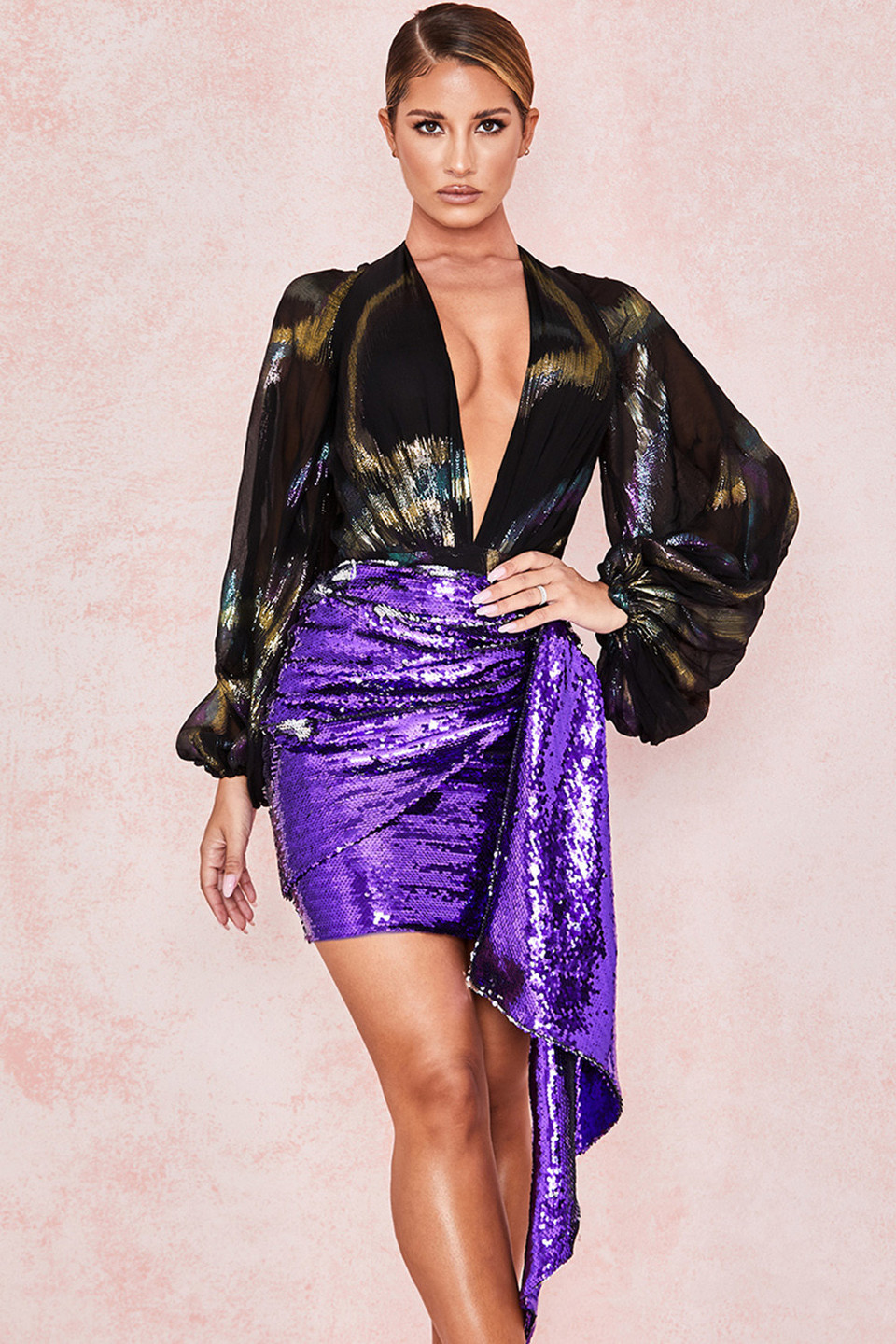 Katya Violet Sequin Draped Mini Skirt