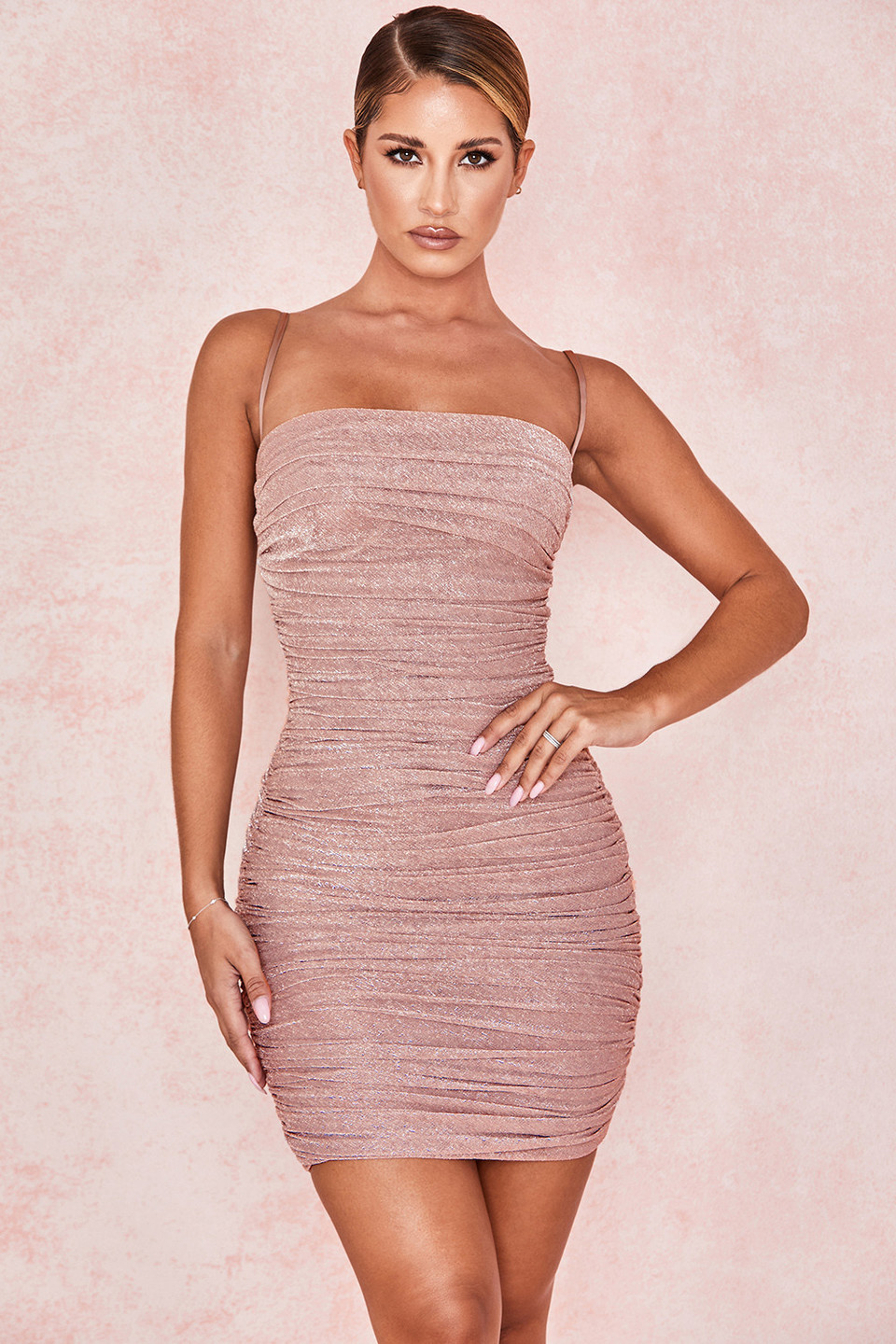 Ella Pale Pink Sparkle Mesh Mini Dress