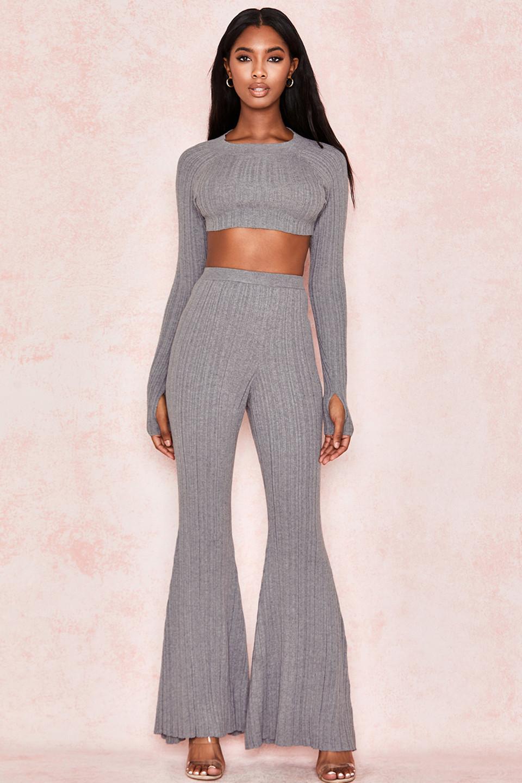 Gina Grey Ribbed Knit Trousers