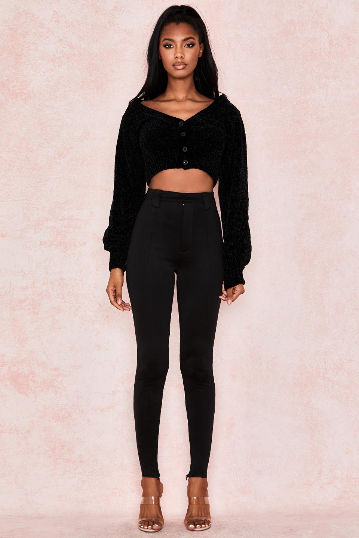 Helene Black Skinny Jersey Pants