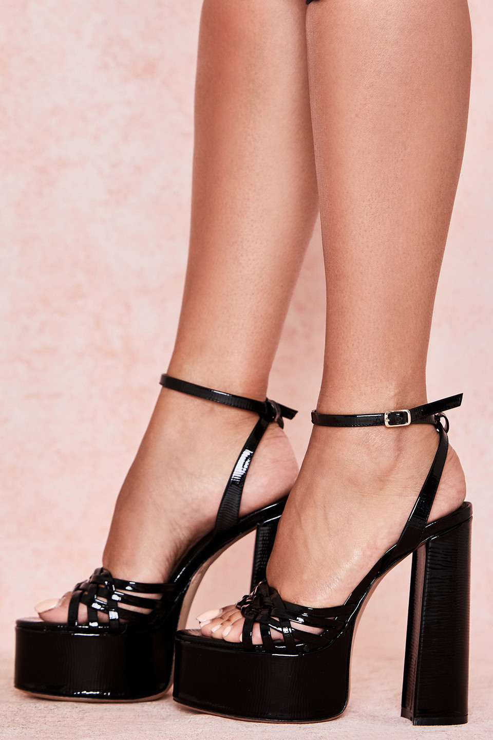 Queen Black Leather Platform Sandal