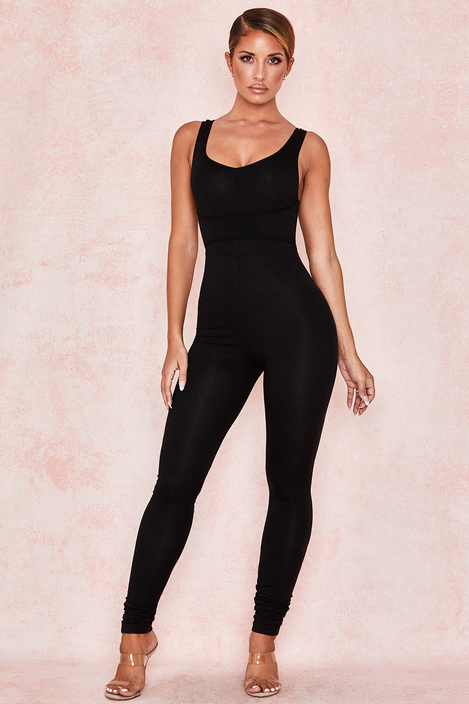 Zinnia Black Waist Cinching Jumpsuit