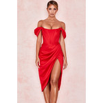 Loretta Red Satin Off Shoulder Dress