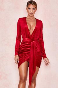 Farrah Red Velvet Gathered Deep V Mini Dress
