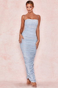Fornarina Baby Blue Sparkle Ruched Mesh Maxi Dress