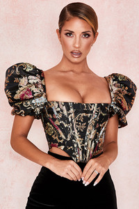 Isabella Gold Lame Ruffle Bustier