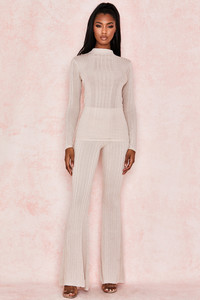 Viola Taupe Ribbed Knit Trousers
