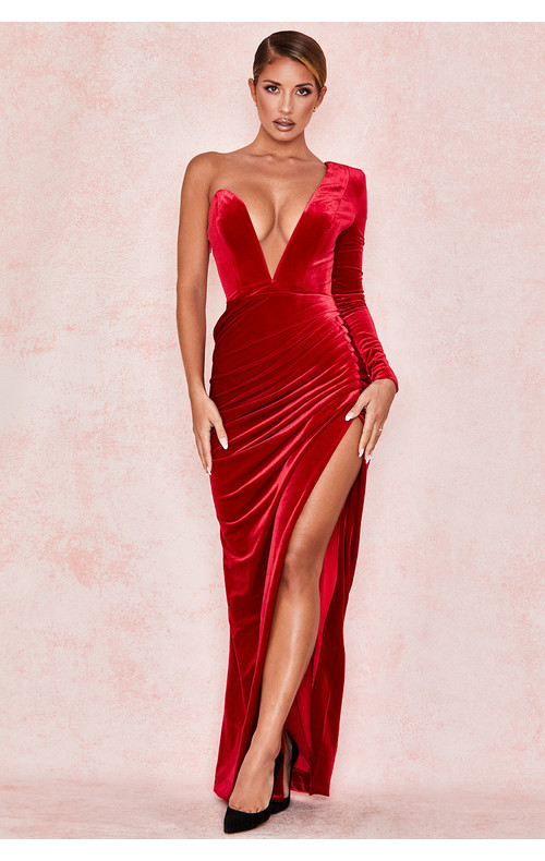 Allegra Red Velvet Deep Plunge Maxi Dress