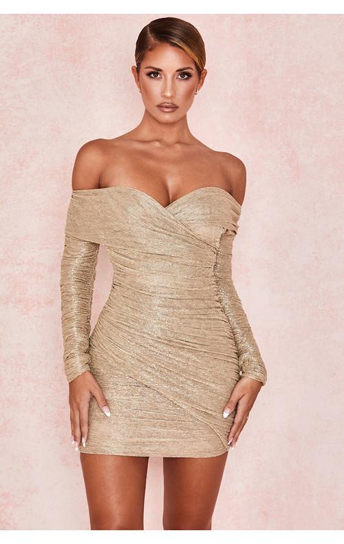 Felicity Gold Ruched Mesh Off Shoulder Dress