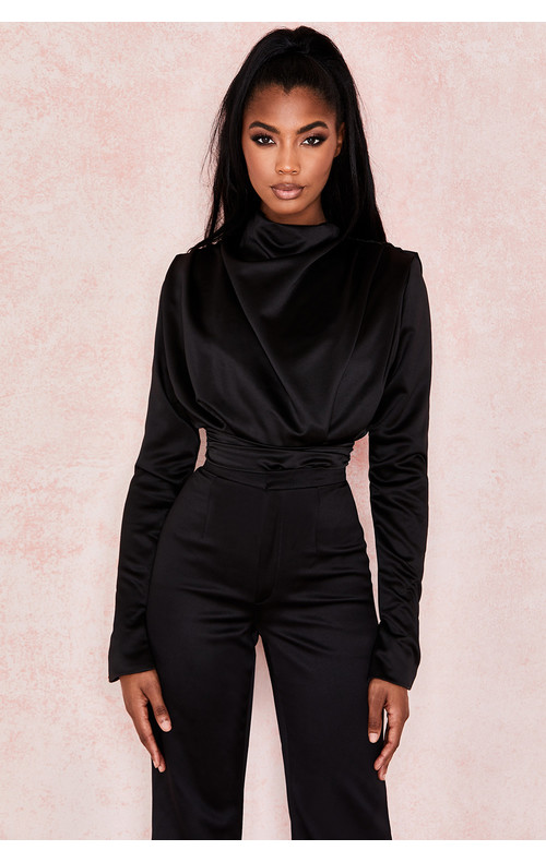 Giselle Black Satin Blouse Bodysuit