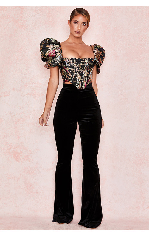 Rihanna Black Velvet High Waist Trousers