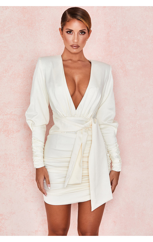Ioana Ivory Draped Satin Dress
