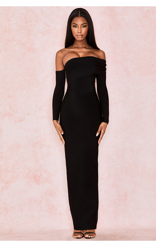 Nalani Black Draped Shoulder Maxi Bandage Dress