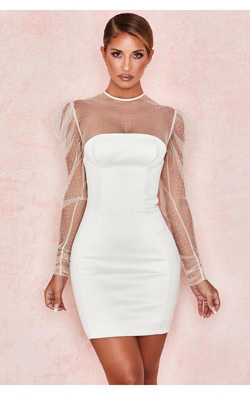 Nikola Ivory Crystal Dress