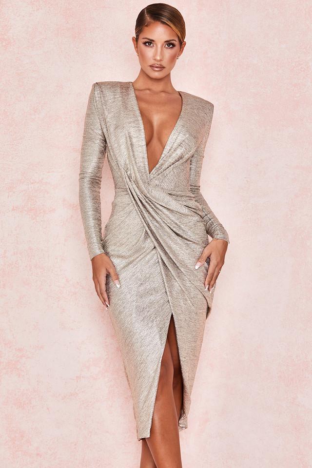 Alecea Gold Twist Midi Dress