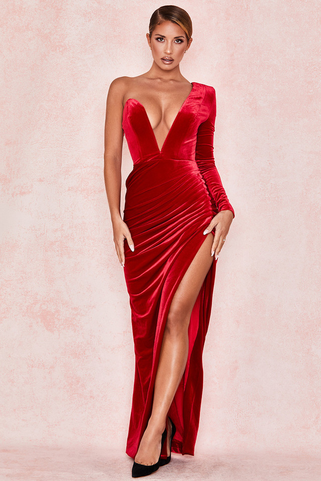 Allegra Red Velvet Deep Plunge Maxi Dress