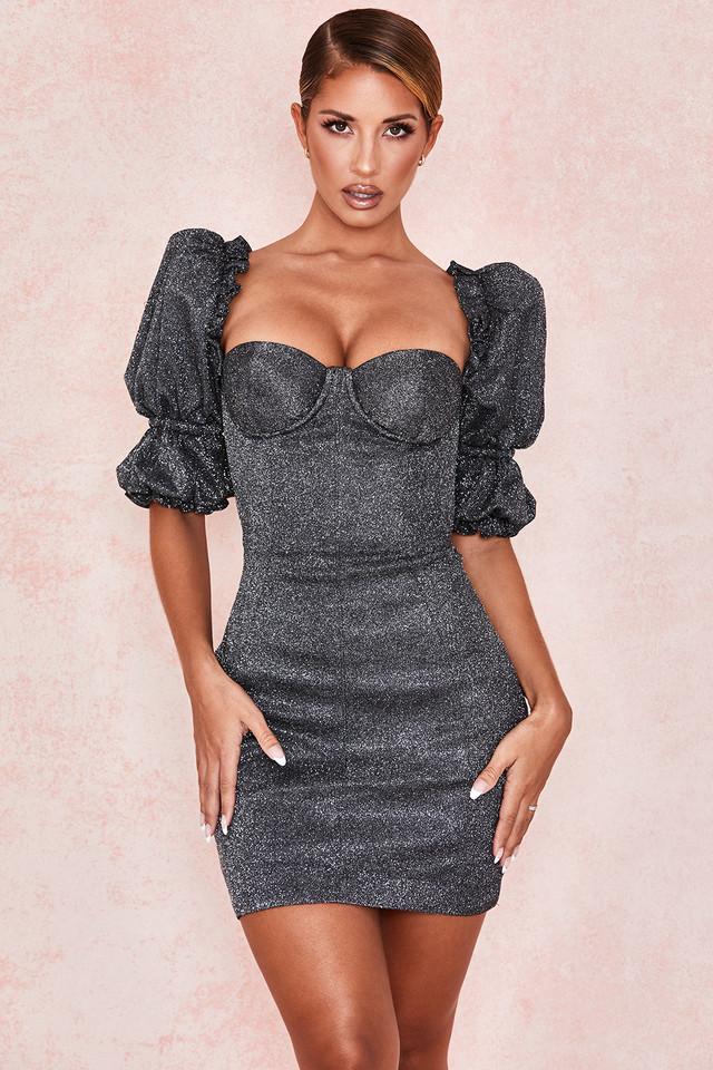 Antoinette Black Sparkle Puff Sleeve Dress
