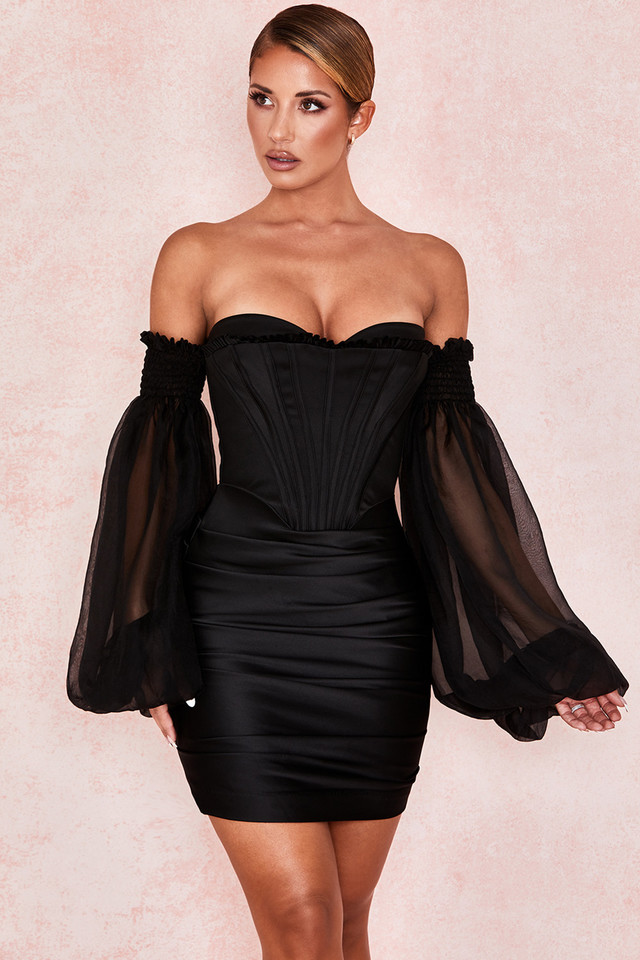 Beau Black Satin and Chiffon Corset Dress